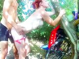 Fucking his redhead girlfriend outdoor deep in the woods